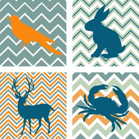 fondo geometrico: Un conjunto de 4 modelos incons�tiles retros y 4 siluetas de animales. Se puede utilizar como arte de la pared. Vectores