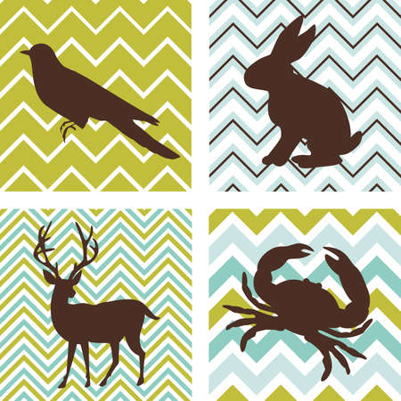 A set of 4 seamless retro patterns and 4 silhouettes of animals. Could be used as wall art.  Vettoriali