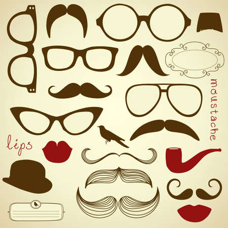Retro Party set - Sunglasses, lips, mustaches  向量圖像