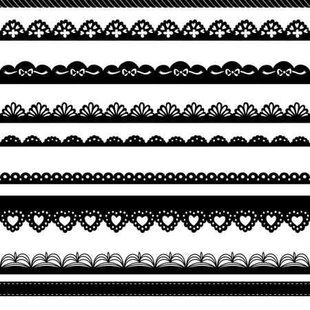 Conjunto de fronteras dibujadas a mano Perforar los encajes de papel Foto de archivo - 15158502