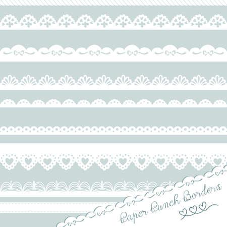 lace: Conjunto de fronteras dibujadas a mano Perforar los encajes de papel