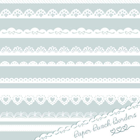 paper punch: Set of hand-drawn Lace Paper Punch Borders Illustration