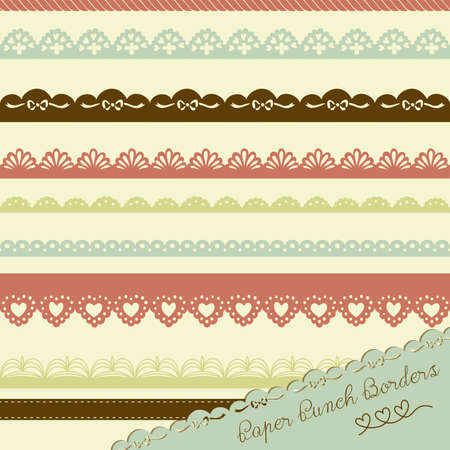 Set of hand-drawn Lace Paper Punch Borders Stock Vector - 15158526
