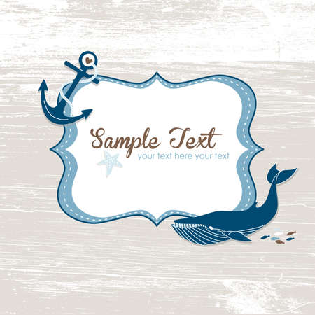 Grunge nautical card with a frame, anchor and a blue whale.  Vector