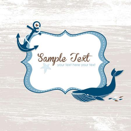 ballena azul: Grunge tarjeta n�utico con un marco, un ancla y una ballena azul. Vectores