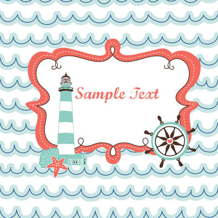 Nautical card with cute lighthouse, sailing wheel on waves background Vettoriali