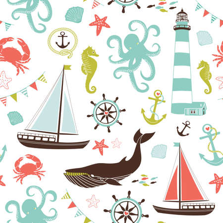 sailors: Retro Seamless Nautical pattern Illustration