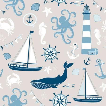 sea bird: Retro Seamless Nautical pattern Illustration