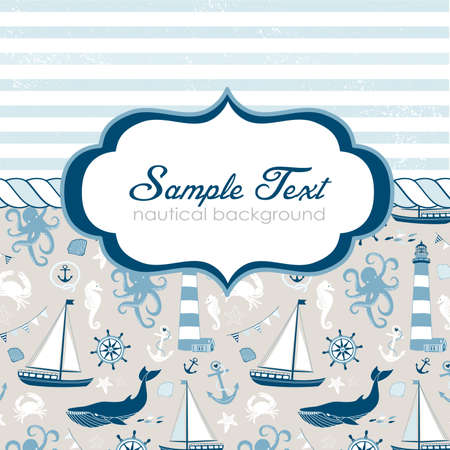 sailors: Nautical card with elegant frame for your text