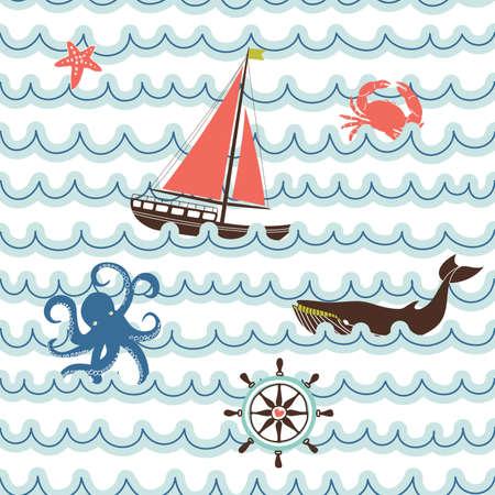 Seamless wave pattern with nautical symbols