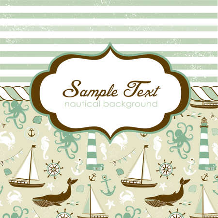 Nautical card with elegant frame for your text  Vector