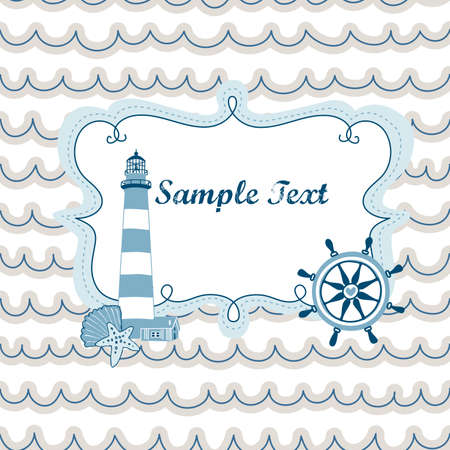 Nautical card with cute lighthouse, sailing wheel on waves background