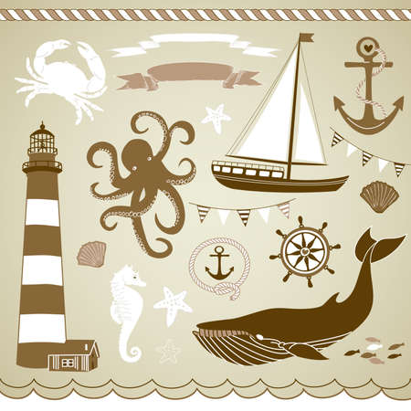 navy blue background: Decorative Nautical and Sea Set,maritime illustrations  Illustration