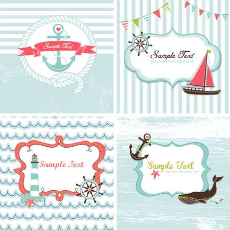 Set of 4 Nautical cards Vettoriali