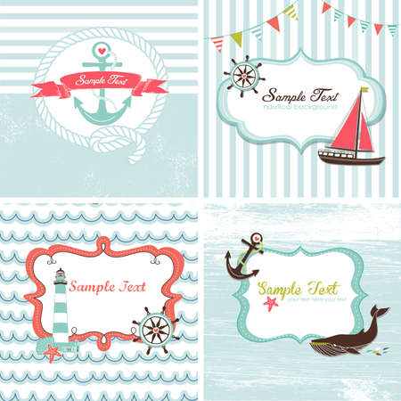 Set of 4 Nautical cards Çizim
