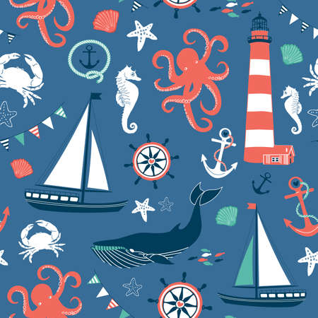 Retro Seamless Nautical pattern Vector