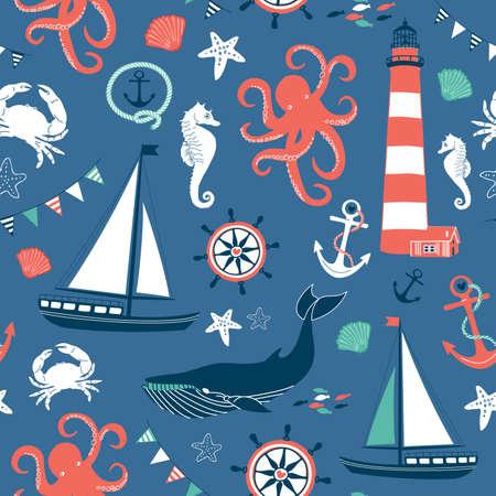 Retro Seamless Nautical pattern Иллюстрация