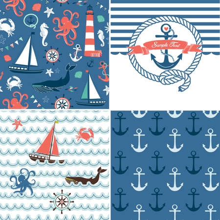 A set of 4 unique nautical backgrounds. Blue, Red and White seamless patterns Stock Illustratie