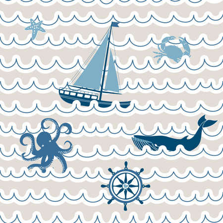 Seamless wave pattern with nautical symbols  Vector