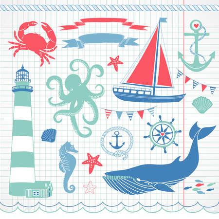 ancre marine: Decorative Nautical Set et la mer, illustrations maritimes