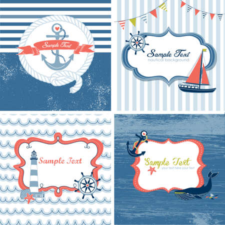 nautical: Set of 4 Nautical cards