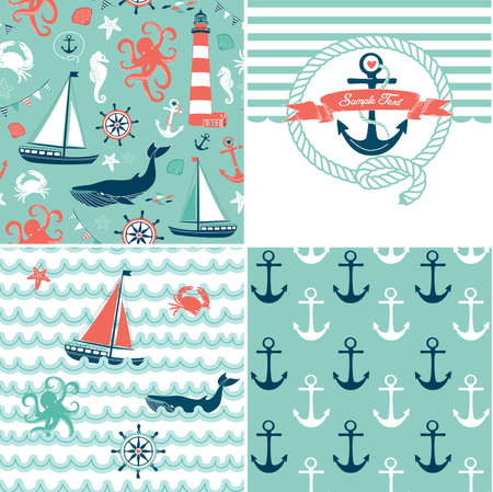 A set of 4 nautical backgrounds, blue, red and white seamless patterns Vector