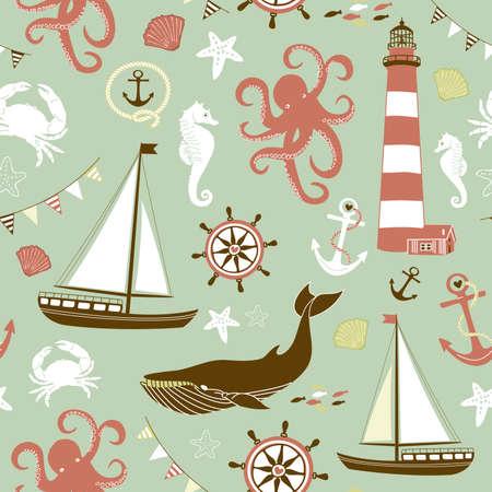 Blue Seamless Nautical pattern Illustration