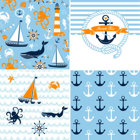 nautical: A set of 4 nautical backgrounds, blue, red and white seamless patterns