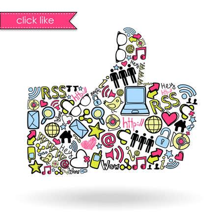 kommunikation: Liksom skylt med sociala medier ikoner
