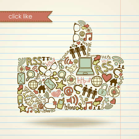 thumbs up business: Como signo hecho con iconos de medios sociales Vectores