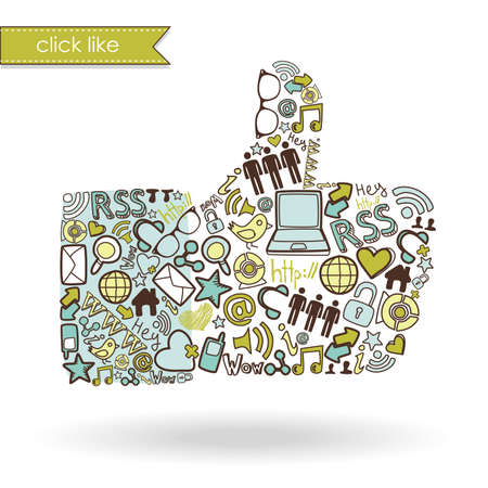 communication icons: Like sign made with social media icons  Illustration