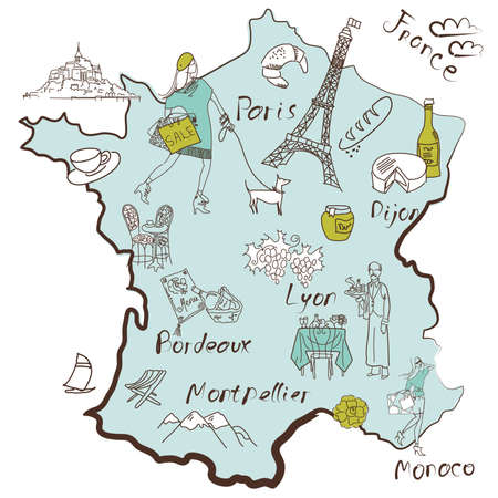 regions': Stylized map of France. Things that different Regions in France are famous for.