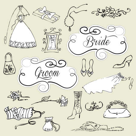 Wedding set of cute glamorous doodles and frames