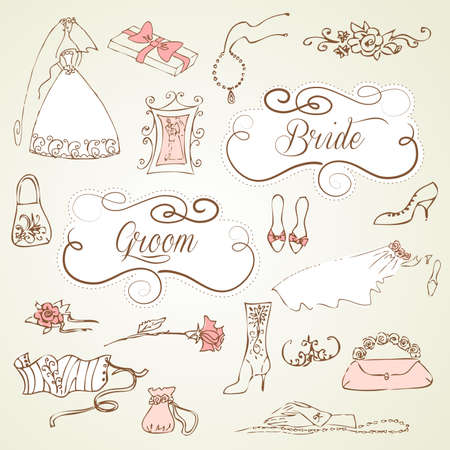 Wedding set of cute glamorous doodles and frames Stock Vector - 15158511
