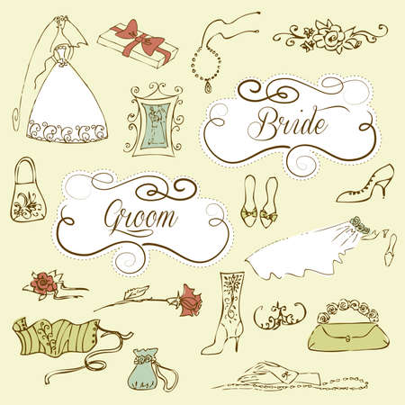 wedding dress: Wedding set of cute glamorous doodles and frames