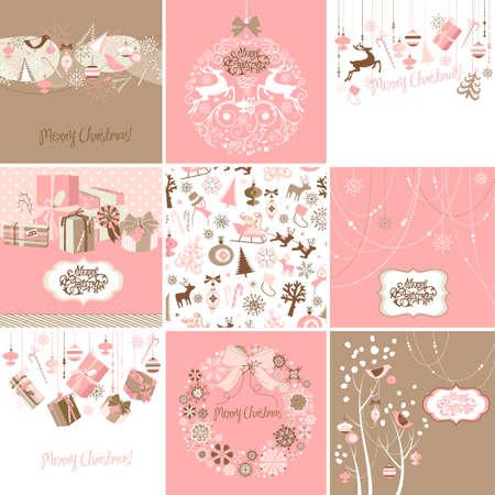 분홍색과 갈색 크리스마스 카드 세트 스톡 콘텐츠 - 16680957