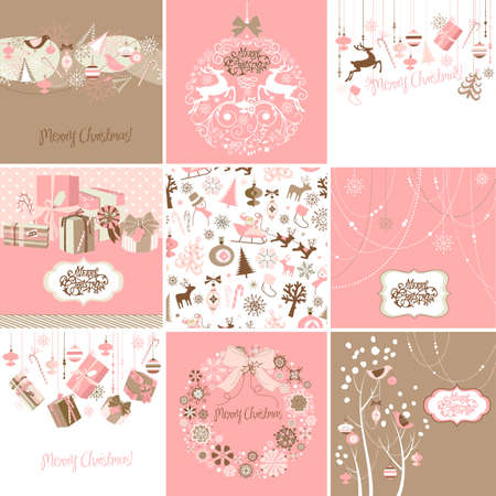 christmas greeting: Set of pink and brown Christmas Cards