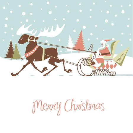 snow sled: Retro Christmas Card