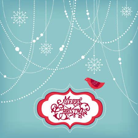 추상 크리스마스 배경, 크리스마스 장식, 눈송이 및 조류