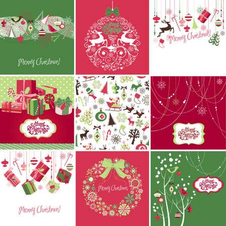 분홍색, 빨강 및 녹색 크리스마스 카드 템플릿 집합