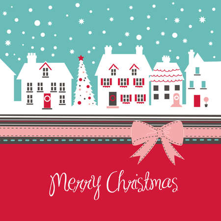 Christmas card, cute little town in winter  Illustration