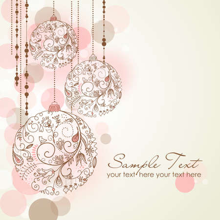 Red Christmas Background with Christmas ornaments  Illustration