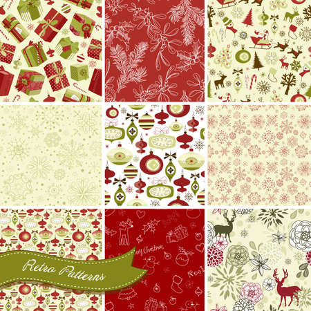 Set of Christmas Seamless backgrounds Vector