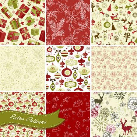 christmas backgrounds: Set of Christmas Seamless backgrounds