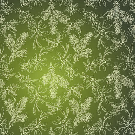 Green background with Fir Mistletoe and Holly  Vector