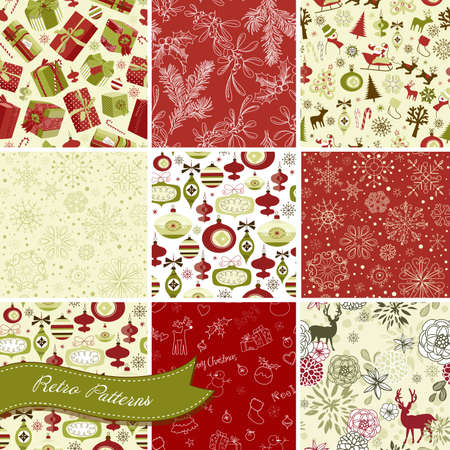 xmas background: et of Christmas Seamless backgrounds Illustration