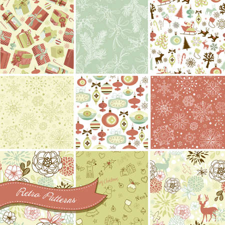Set van Kerstmis Naadloze achtergronden Stock Illustratie