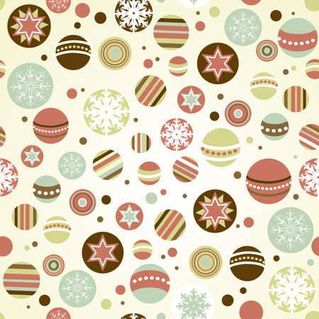 Seamless Christmas background with holiday ornaments Vector