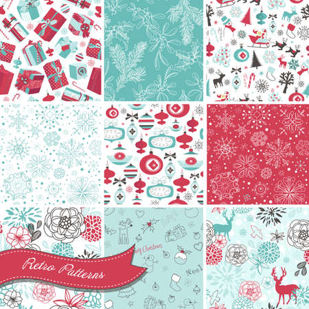 stockings: Set of Christmas Seamless backgrounds