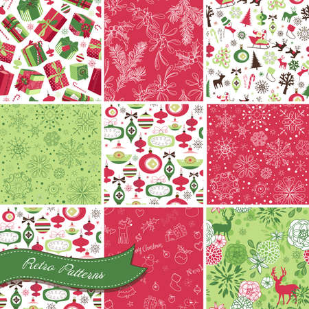 Set of Christmas Seamless backgrounds Stock Vector - 16681275